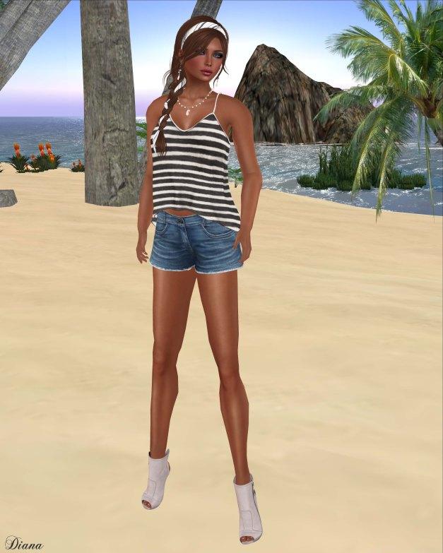 Maitreya - Ana Top Tie Dye Stripe 01 and Cut Off Jeans Shorts 4