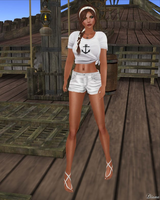 Nylon Outfitters - Knotted Tshirt and Anchor & Heart Shorts