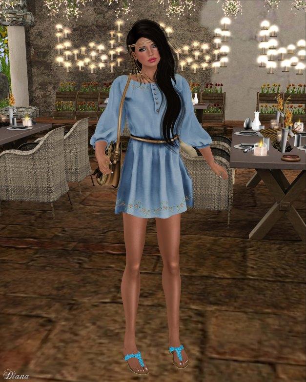 Zenith - Hippie Dress w Belt Sea-1