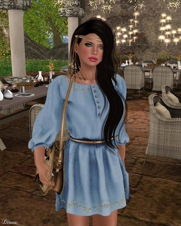 Zenith - Hippie Dress w Belt Sea-2
