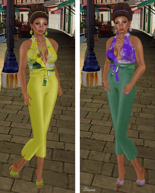 Baiastice - Felicia outfit-lemon and purplegreen