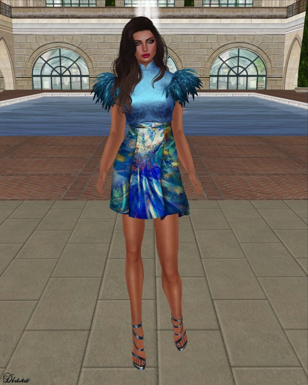 Baiastice - Jitka Top damask cian and Skirt fractals cian