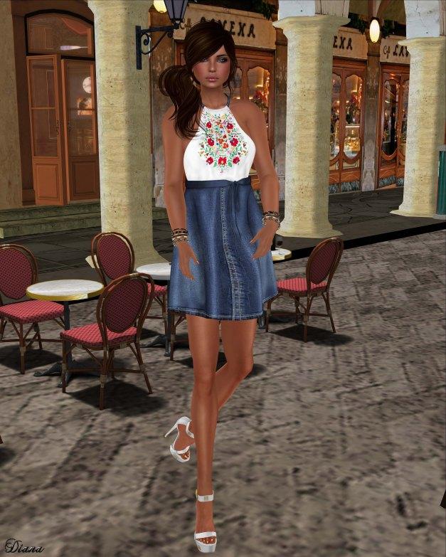 GizzA - Erika Halterneck Dress Denim