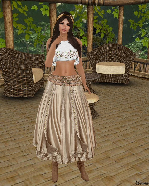 Hudson`s Clothing - Embroidered Linen Sleeveless Crop Top and Buttoned Boho Gypsy Skirt-1