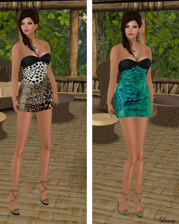 Hudsons Clothing - Silk Print Cheetah Mini Dress and Silk Print Forest Mini