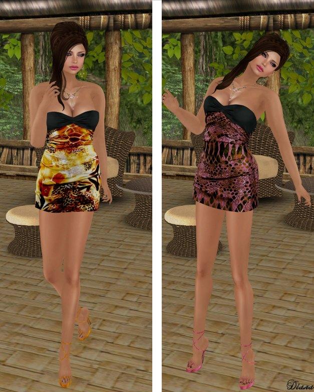Hudsons Clothing - Silk Print Giraffe Mini Dress and Silk Print Pink Mini
