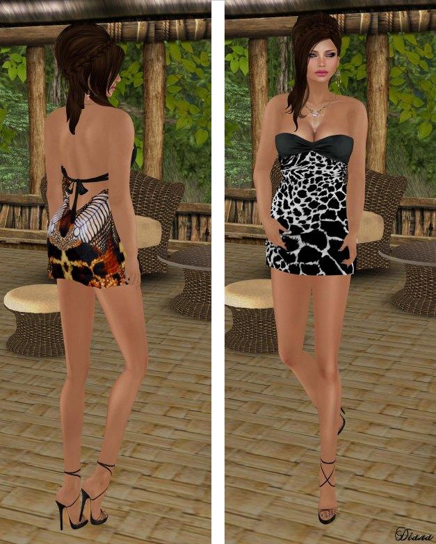 Hudsons Clothing - Silk Print Safari Mini Dress and Silk Print Zebra Mini