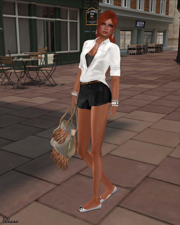 tres blah- Khaki Blouse white and Khaki Shorts black