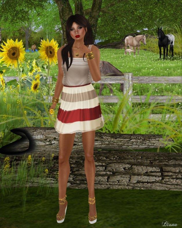 Zaara - Anusha Striped Dress russet-1