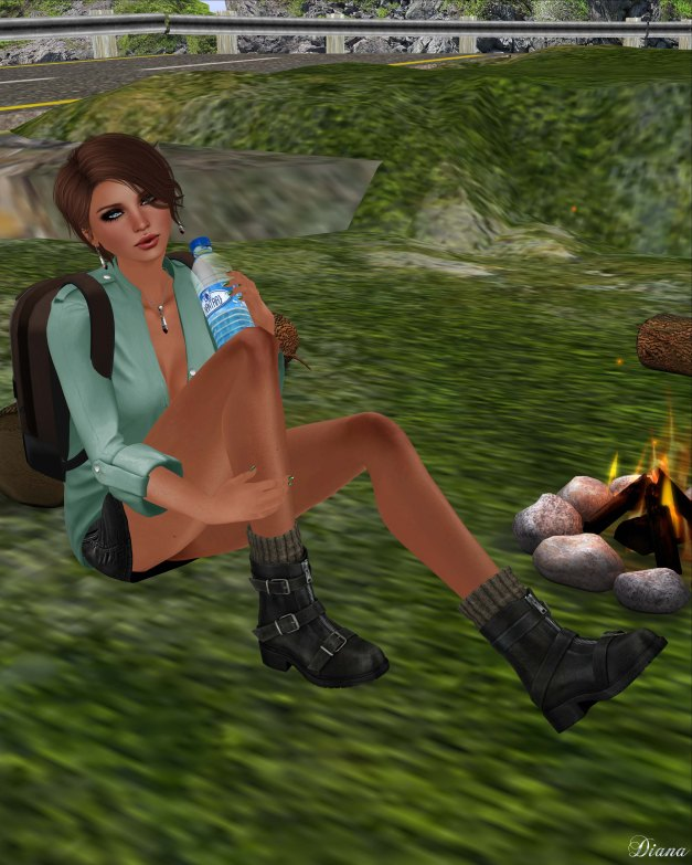 Blueberry - Myst Mesh Unbuttoned Tucked in Shirt and Vio Mesh Belted Denim Skirt-2