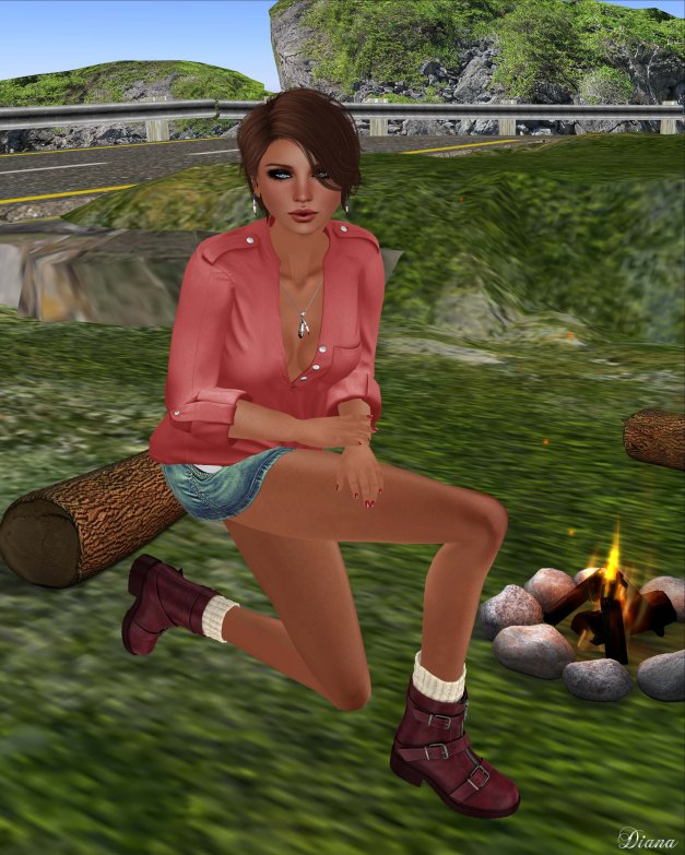 Blueberry - Myst Mesh Unbuttoned Tucked in Shirt and Vio Mesh Belted Denim Skirt-4
