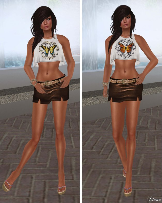 Hudson`s Clothing - Butterfly and Monarch Linen Sleeveless Crop Top and Belted Linen Mini Skirt