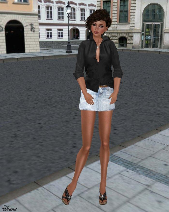 tres blah- Open Collar Blouse black and Denim Mini Skirt light wash
