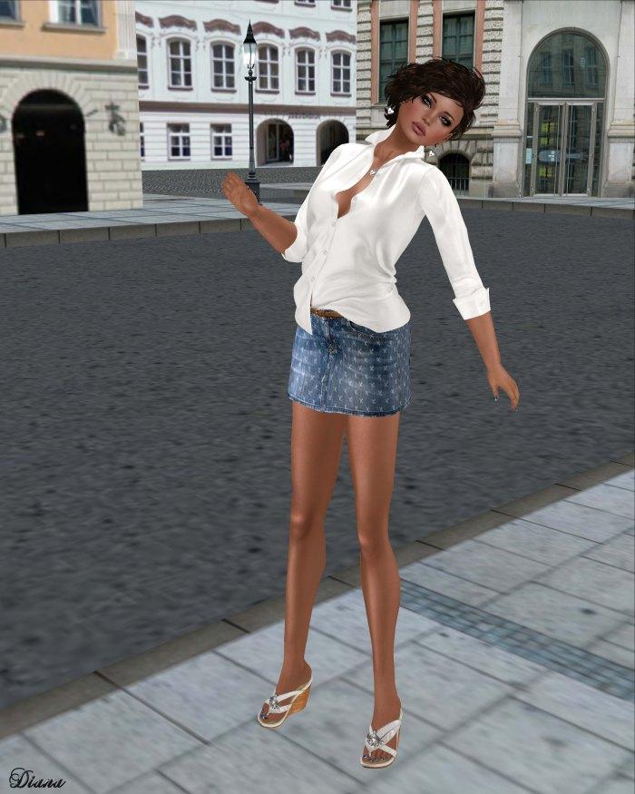 tres blah- Open Collar Blouse white and Denim Mini Skirt criss cross