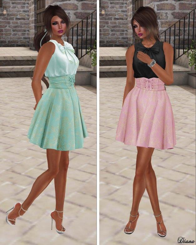 G Field - Mesh Sleeveless Top and Mesh High Waist Skirt Annis-3