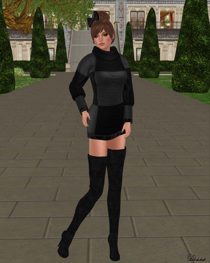 Girl Thursday - Checker Knit Dress gray black-1