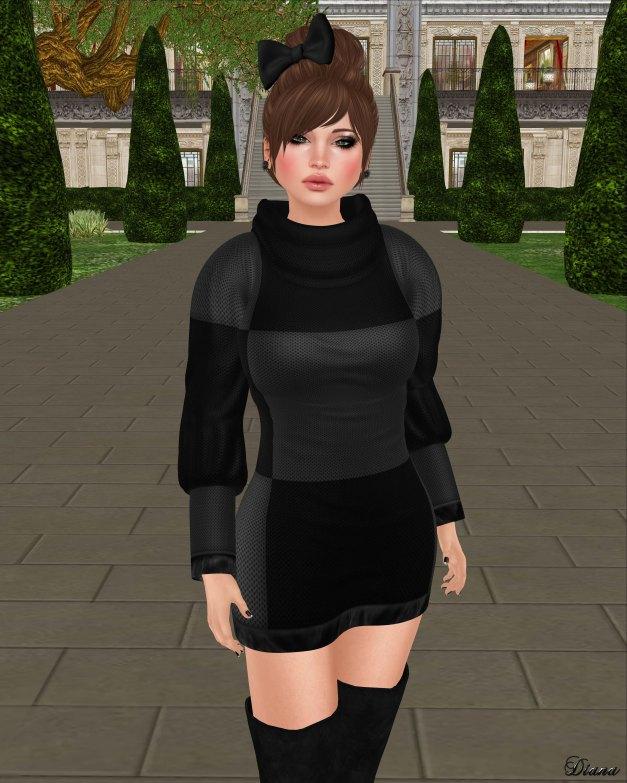 Girl Thursday - Checker Knit Dress gray black-2