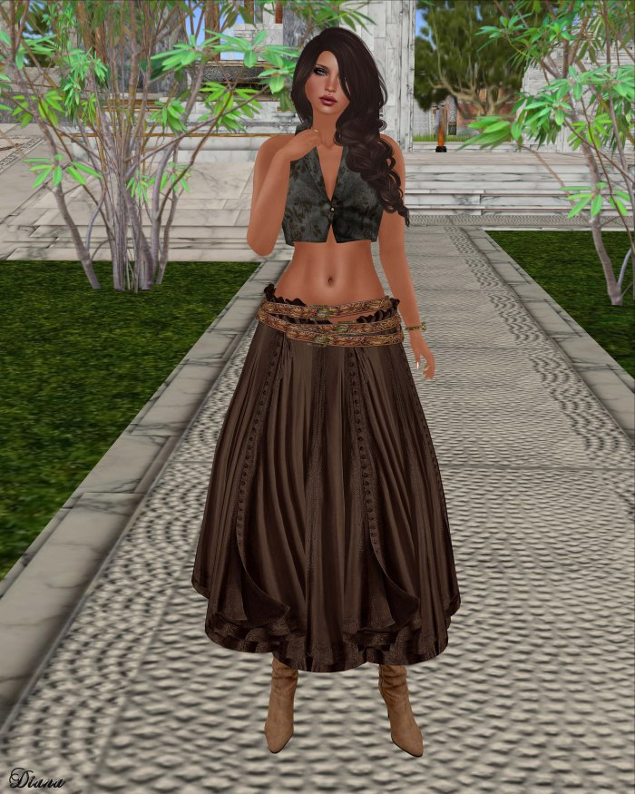 Hudson`s Clothing - Buttoned Floral Mesh Vest and Buttoned Boho Gypsy Skirt Chocolate