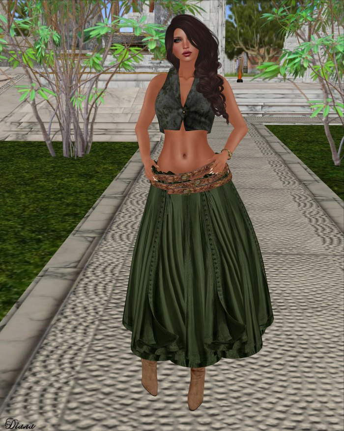 Hudson`s Clothing - Buttoned Floral Mesh Vest and Buttoned Boho Gypsy Skirt Olive
