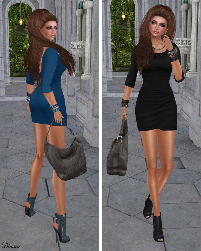 Maitreya - Short Jersey Dress Lapis and Coal