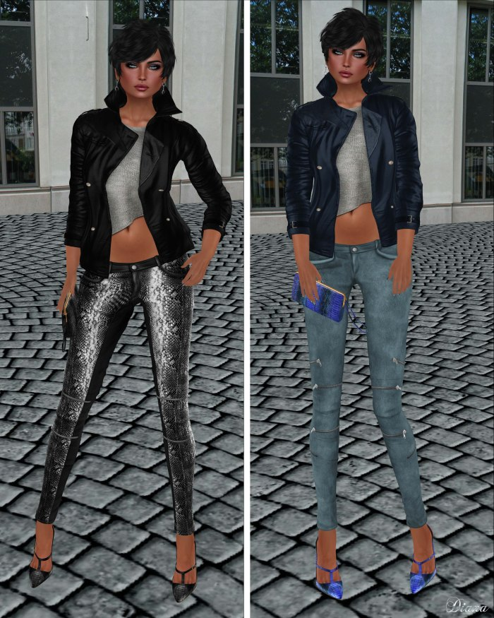 GizzA - Asymmetric Leather Jacket Black & Blue and Josie Pants Snake & Suede Nature