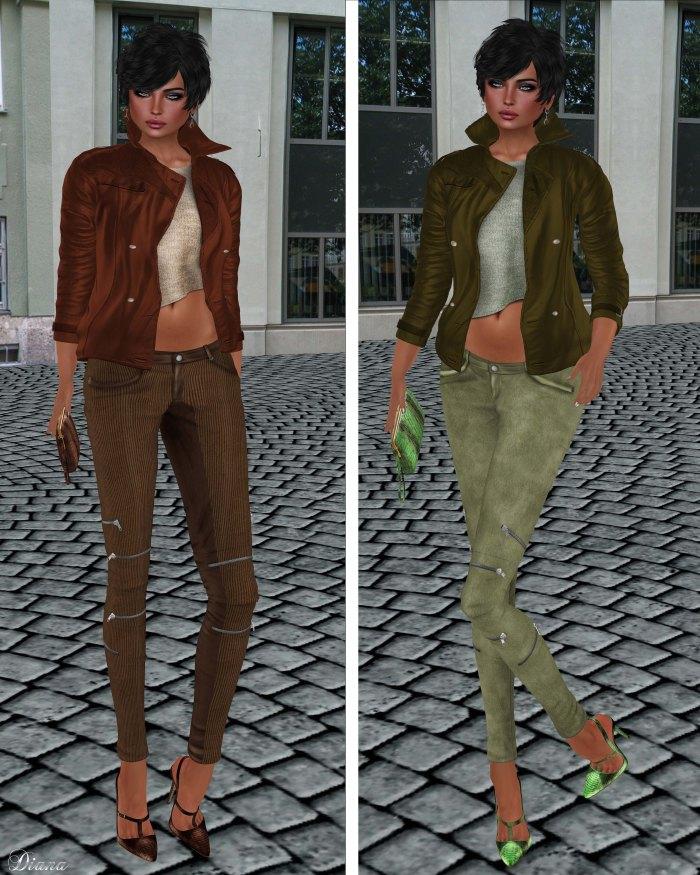 GizzA - Asymmetric Leather Jacket Brown & Green and Josie Pants Corduroy & Suede Soil