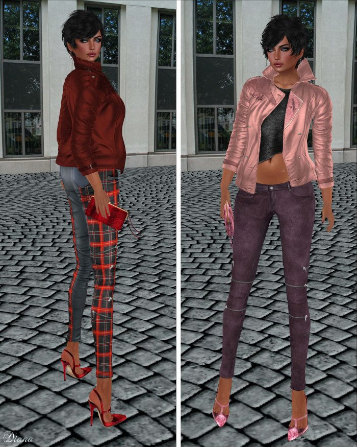 GizzA - Asymmetric Leather Jacket Red & Rose and Josie Pants Tartan & Suede Dark