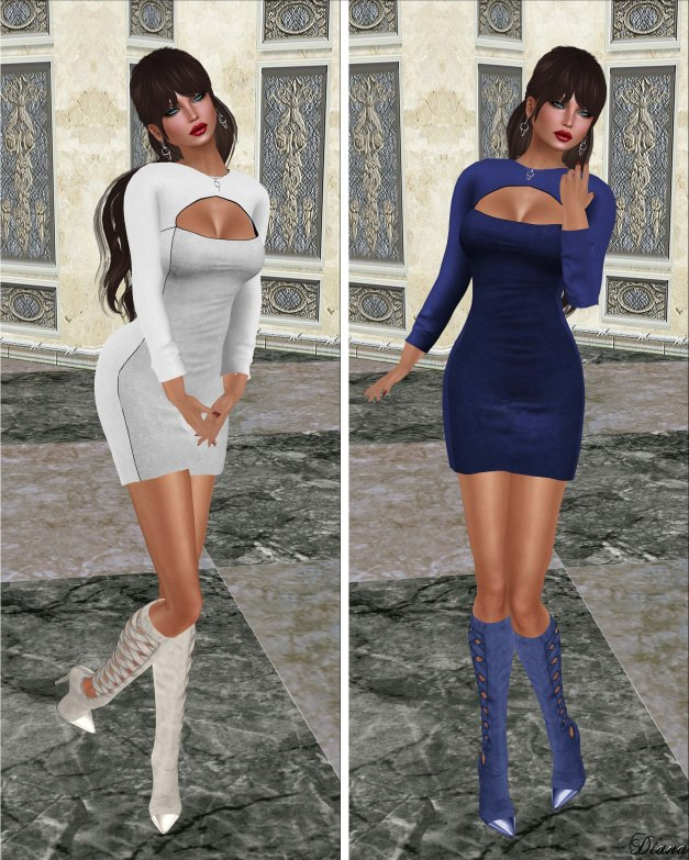 Hucci - Baudette Dress Moonglow and RoyalBlue