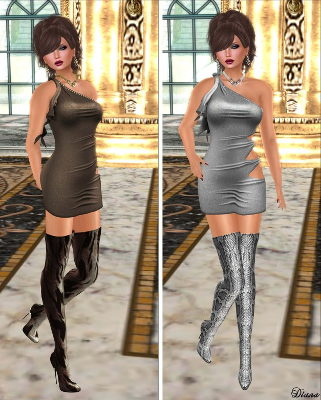 !Rebel Hope - Lia Mesh Dress Pewter and Silver Shimmer