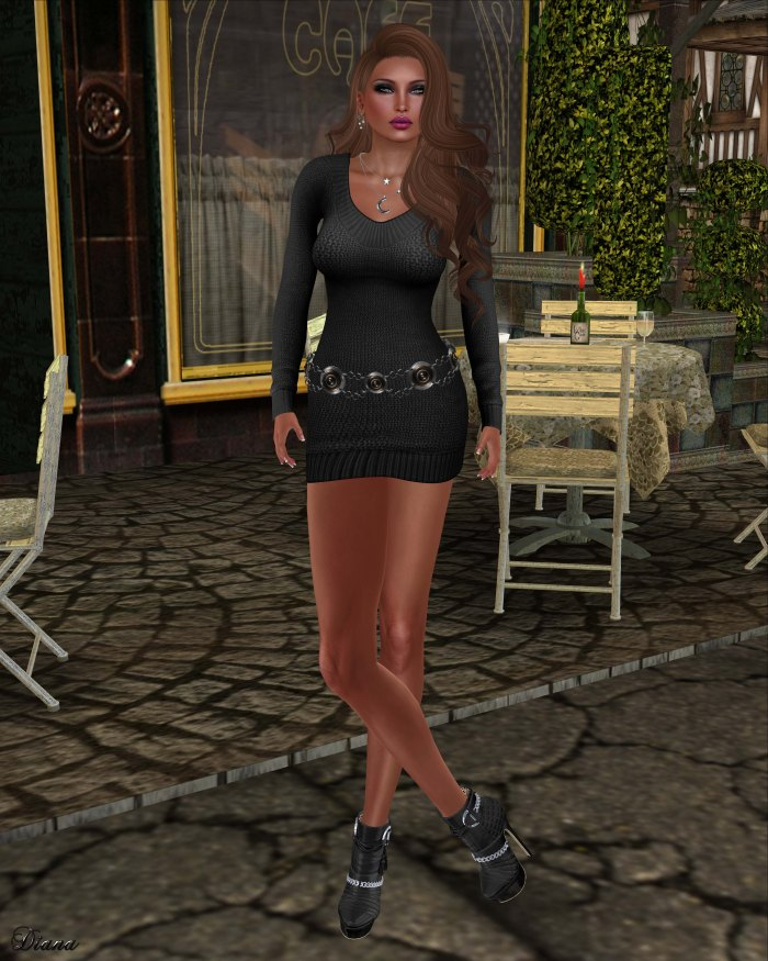 Bueno - Ella-Sweater Dress Black-1