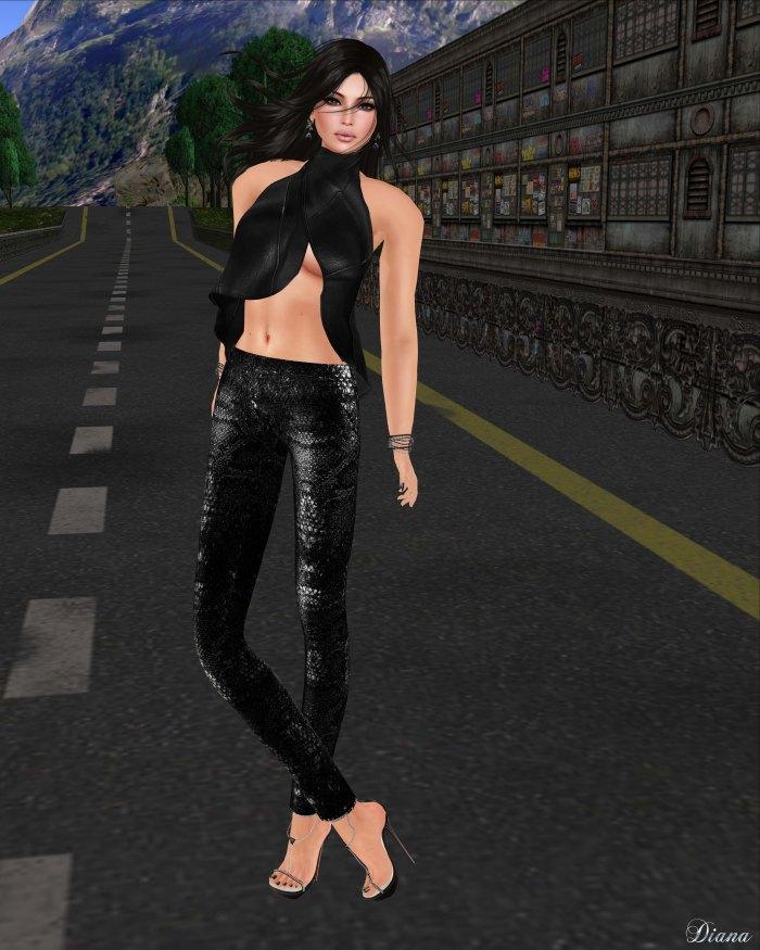 GizzA - Asymmetric Leather Tank and Snakeskin Legging Black