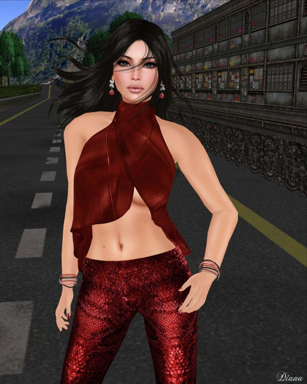 GizzA - Asymmetric Leather Tank and Snakeskin Legging Red