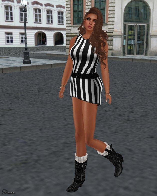 Immerschoen-BodyCult - H Mesh Belted Dress Stripes bw