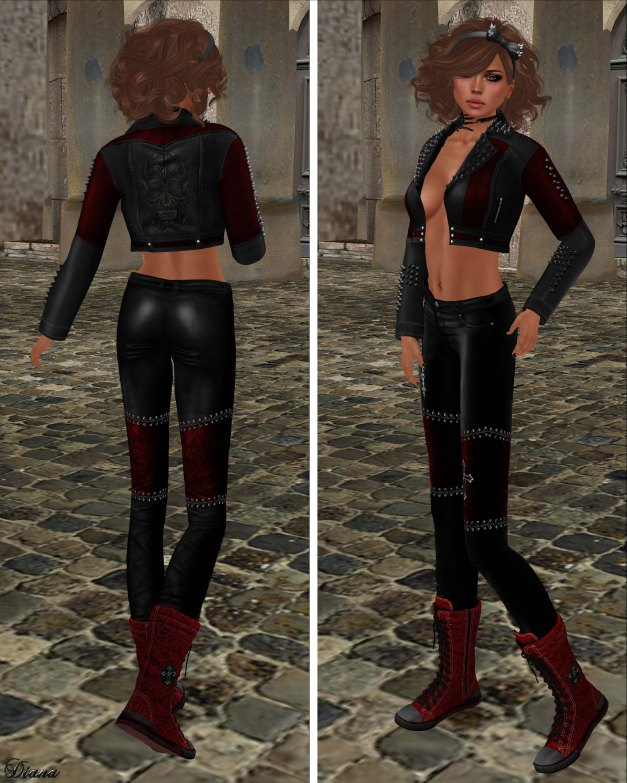 Immerschoen-BodyCult - H Mesh Leather Jacket Gothic red and Leather Skinny Gothic red