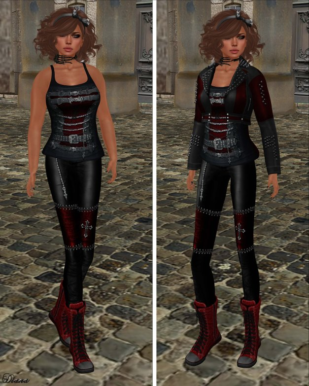 Immerschoen-BodyCult - H Mesh Leather Jacket Gothic red,Top Zenda red,Leather Skinny Gothic red