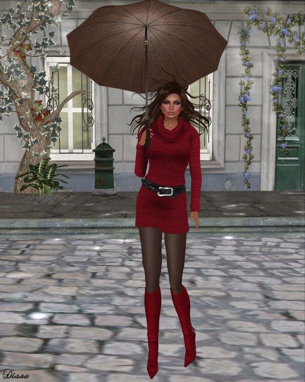 !Rebel Hope - Gina Mesh Sweater Dress Red
