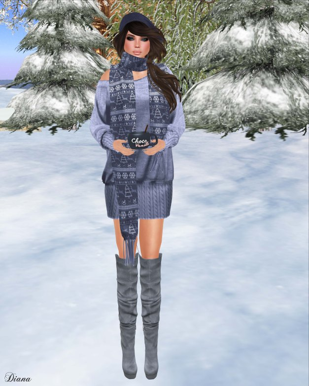 Valentina E - Kristen Knit Dress and Cashmere Scarf Icey Blue-1