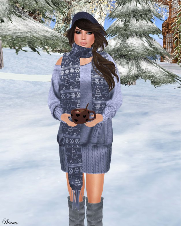 Valentina E - Kristen Knit Dress and Cashmere Scarf Icey Blue-2