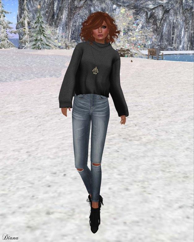 Emery - Emilia Sweater Black and Ripped Skinny Jeans War
