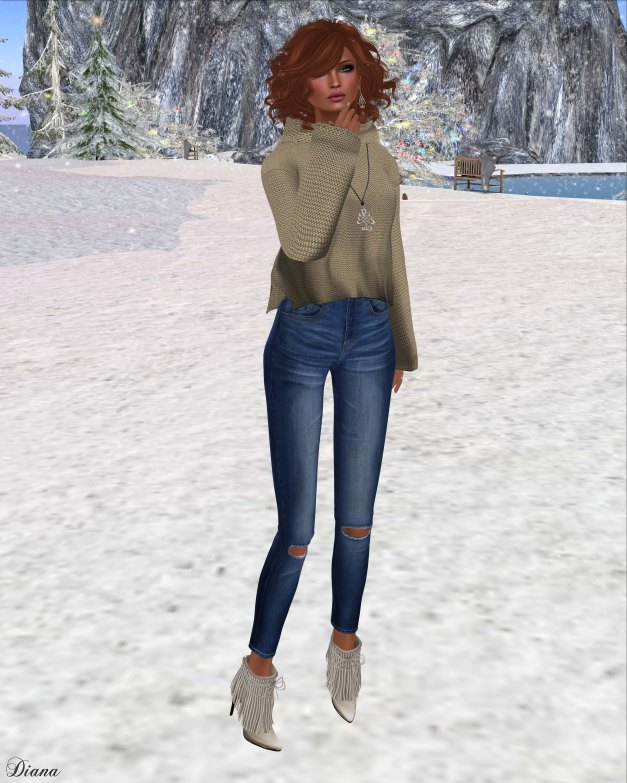 Emery - Emilia Sweater Latte and Ripped Skinny Jeans Dark Blue