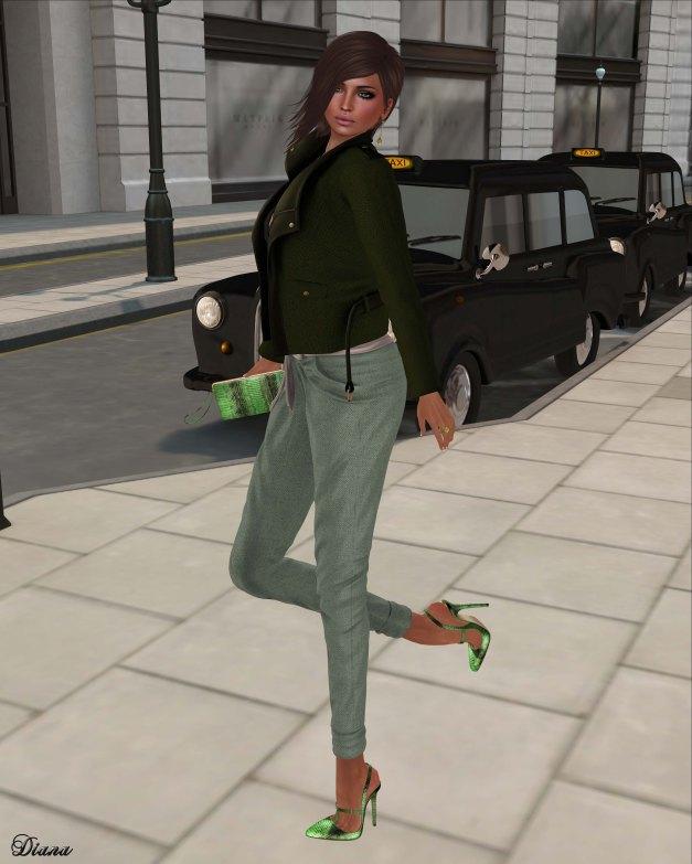 GizzA - Lula Jacket Green and Lula Pants Tweed Pastel