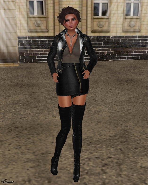 GizzA - Moto Leather Jacket and Zipper Denim Skirt Black