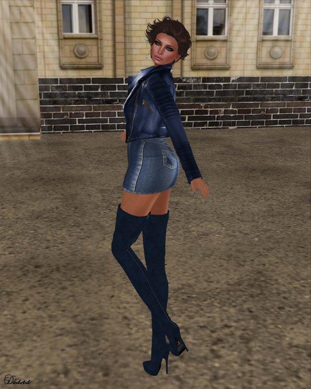 GizzA - Moto Leather Jacket Blue and Zipper Denim Skirt Light Blue