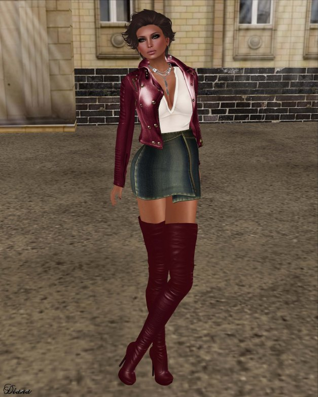 GizzA - Moto Leather Jacket Burgundy and Zipper Denim Skirt Retro