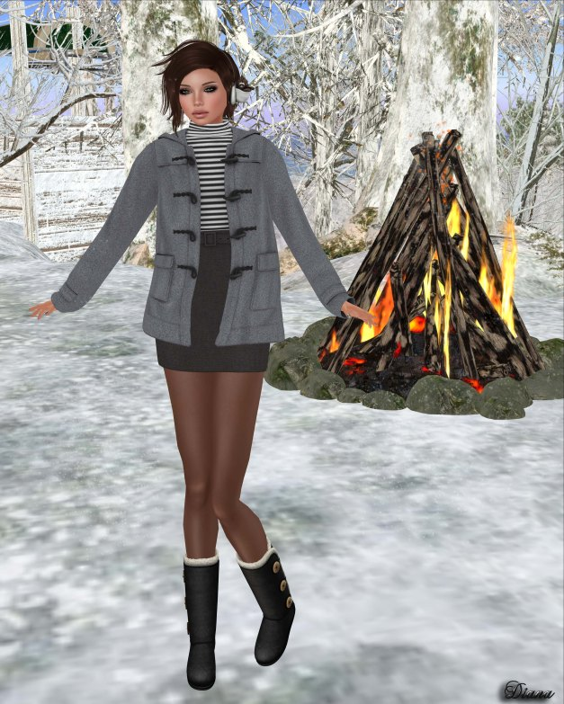 MotiAme - Duffle Coat Gray and Mini Wool Skirt Black-1
