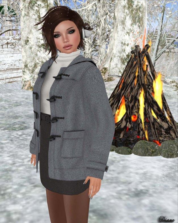MotiAme - Duffle Coat Gray and Mini Wool Skirt Black-2