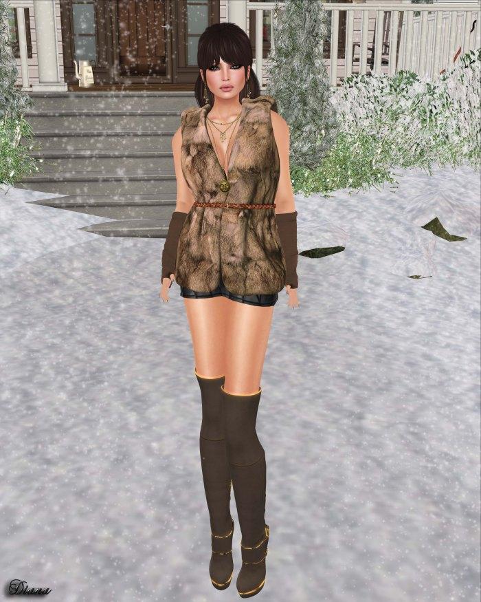 Redgrave - Mesh Fur Vest Sienna-2