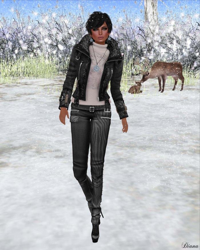 Redgrave - Mesh SuedeFur Leather Jacket FOX and Mesh Skinny crease Pants - Samantha-1