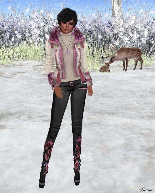 Redgrave - Mesh SuedeFur Leather Jacket FOX and Mesh Skinny crease Pants - Samantha-2
