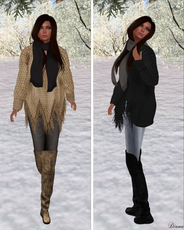 Zenith - Begie and Black Fringe Sweater
